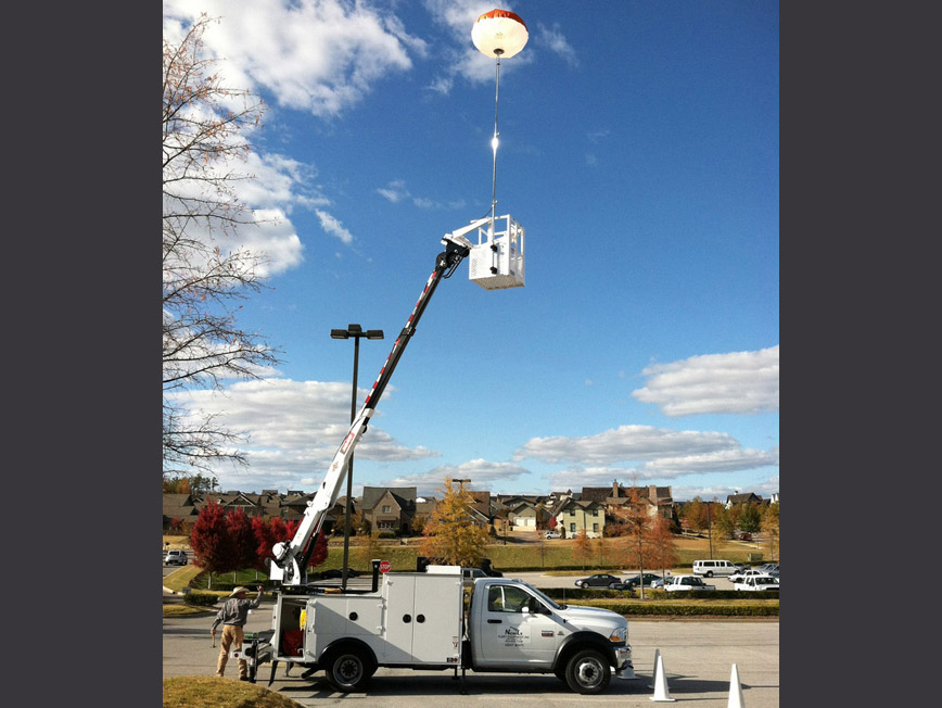 utility truck with balloon lighting